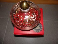 Különleges  kézzel festett   üveg fedeles bonbontartó eredeti díszdobozában