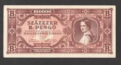 Százezer B.-pengő 1946.    EF+!!  GYÖNYÖRŰ!!