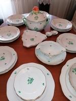 Herendi 6 személyes ZV zöld virág mintás készlet, étkészlet kifogástalan állapotban