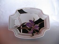 Hollóházi porcelán tál, ritka mintával (26,3 cm)