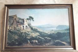Hatalmas olajfestmény antik nyomata/keret  78 x 51 cm