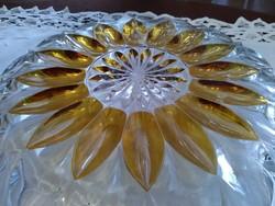 Ólom kristály tál borostyánnal kombinálva