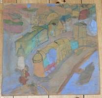 SAJDIK FERENC ? AKVARELL FALEMEZEN JELZÉS NÉLKÜL - 31 x 31 cm.
