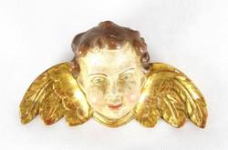 0Z104 Antik faragott fa puttó angyal fej