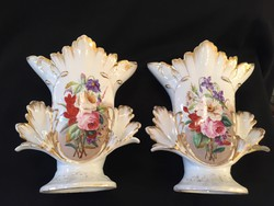 1 pár cseh, bidermeier váza