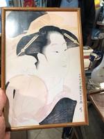 Japán akvarellek, párban, gyönyörű színes ábrázolás, 20 cm-esek.
