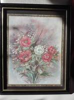 Olajfestményről készített  különleges nyomat,  virágcsokor