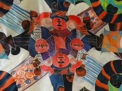 Kézzel festett selyemkendő, szignált, 110 x 110 cm
