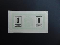 1 korona 1919 Miskolc Hajtatlan bankjegy