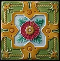 Antik szecessziós S.A. Produits Céramiques de la Dyle csempe a századfordulóról 15,1x15,1 cm