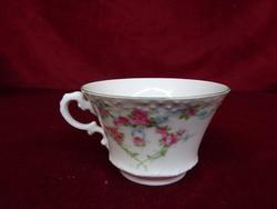 Japán barokk füles teáscsésze, jelzése 3163, rózsaszín rózsával.