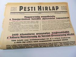 Magyarország megszüntette a Szovjet - Unióval fennálló kapcsolatait - Pesti Hírlap 1941 jun, 24.