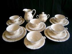 Ritka gyönyörű Bavaria Stolzenfels 6 személyes porcelán teás, kávés készlet, reggeliző tányérokkal