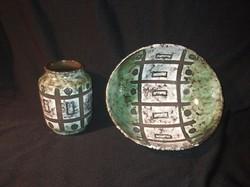 Nagyon retro kerámia szett - váza és kínáló tányér