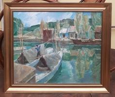 Udvary Pál (1900-1987)-Balatoni Vitorlások c.Festmény Eredeti Garanciával !