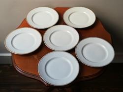 6 db antik Zsolnay pajzspecsétes aranyszélű porcelán süteményes tányér