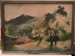 Éless István Tájkép tisztás, akvarell 53 X 39 cm fekvő!