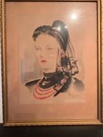 Éless István, Hölgy fekete fátyolban akvarell 44.5 X 56.5 cm álló!
