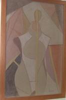 Bortnyik szignós Absztrakt vegyes technika 37x57 cm  Munkácsy-díjas, érdemes, kiváló művész