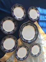 Hibátlan Zsolnay süteményes készlet Pompadur II (6 db kistányér, 1 db süteményes tál)