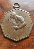 2. Antik bronz plakett érem kitüntetés Berán Lajos SGA