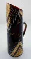 Sötétvörös üveg aranyozott kézi festésű régi kis kancsó