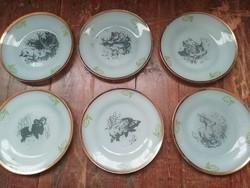 Retro állatos kis üveg tányérok, 6db