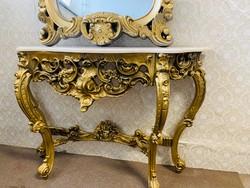 Rózsa fa! Konzol asztal Márvány lappal, tükörrel arany színű