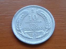 CHILE 10 DIEZ PESOS UN CONDOR 1957 ALU. Andoki kondor #