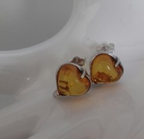 Szív alakú borostyán köves fülbevaló
