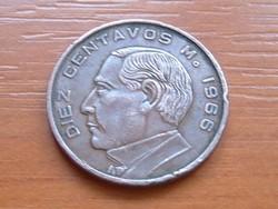 MEXIKÓ MEXICO 10 CENTAVOS 1966 BRONZ Benito Juárez #
