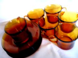 DURALEX FRANCE borostyán színű kávés, teás készlet