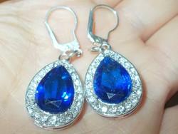 London kék Topáz Csepp 925 ezüst Fülbevaló