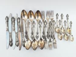 Gyönyörű régi orosz ezüstözött evőeszköz készlet 6 főre - nagypolgári díszes szervíz