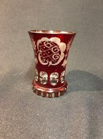 Biedermeier rubinpácolt pohár