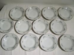 12 személyes Zsolnay kék barackvirág mintás tányérkészlet