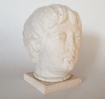 Szobor kőből faragott fej kőszobor vintage dekoráció 21 cm