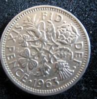 Egyesült Királyság, 1963 6 pence VF