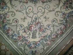 Régi, virágkosaras szőttes ágytakaró, terítő