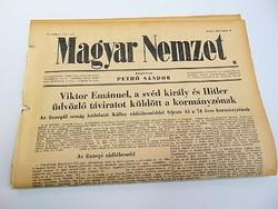 Svéd király és Hitler üdvözlő táviratot küldött a kormányzónak -  Magyar Nemzet  1942. jún. 19.