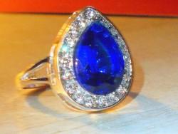 London kék Topáz Csepp Tibeti ezüst gyűrű 8.5-es