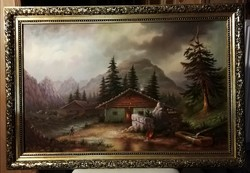 Jelzett, meseszép,  nagyméretű tájkép, gyönyörű keretben ( 65 x 95 )