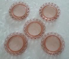 Régi üvegtányér rózsaszín desszertes kis tányér 5 db