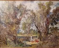 Herman Lipót(1884-1972): Erdőben. Jelzett olajfestmény.