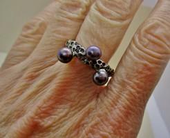Különleges iparművész ezüst gyűrű fekete valódi gyöngyökkel