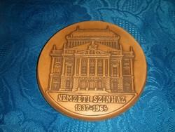 Cserép falikép Nemzeti Színház 1837-1964 emlék átm. 12 cm (19/d)