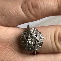 Ezüst antik virágcsokor gyűrű 18mm belső átmérő