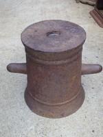 Ritka ! Nagy vas mozsár Loft öntöttvas industrial Ipari vintage vas őrlő malom Nem ágyú