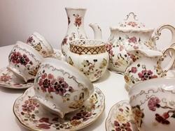 Zsolnay pillangó mintás teáskészlet vázával és áttört kaspóval