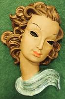 Goldscheider Art-Deco női fali maszk,Adolf Prischl /1937 körül /  terve alapján